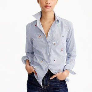 J. CREW Perfect Shirt Bee Embellished Top